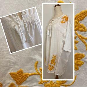 Women's Emme Spice Trail Embroided top Cotton boho white orange Size M